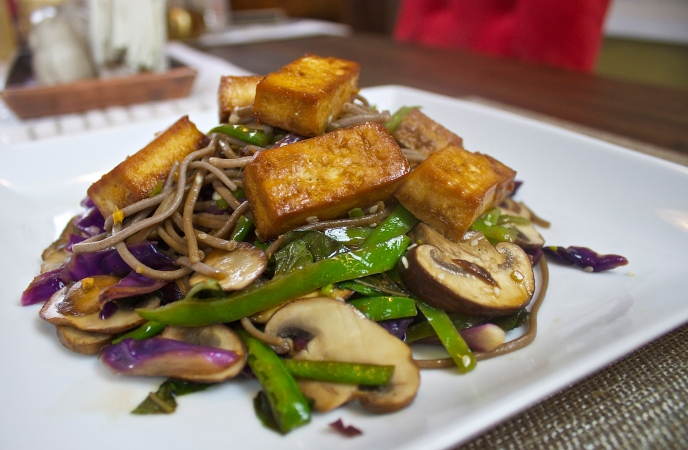 Sesame Noodles with Teriyaki Chicken or Tofu