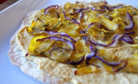 Squash-Rosemary Pizza with Garlic Hummus Sauce