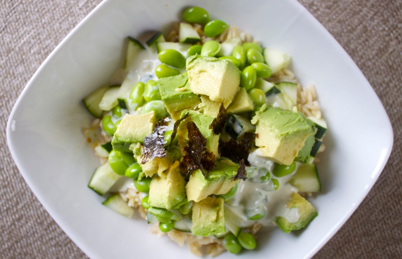 Avocado-Cucumber Bowl with Wasabi Dressing