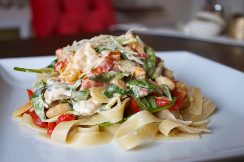 Fettuccine with Cannellini Beans and Roasted Red Peppers