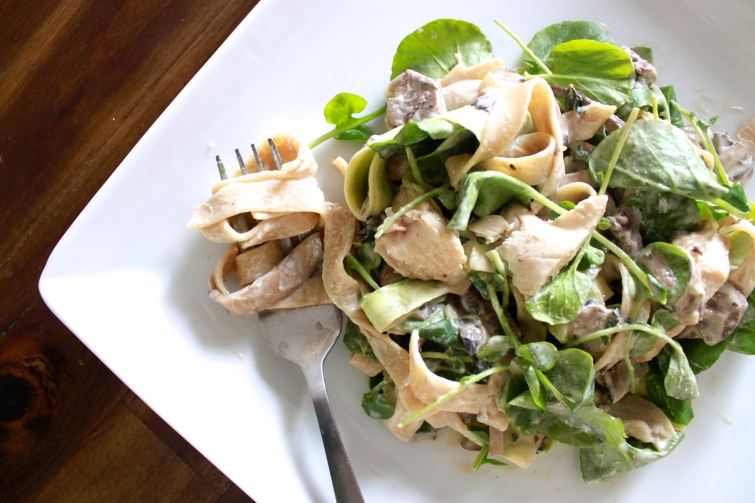 Tagliatelle with Watercress and Creamy Mushroom Sauce