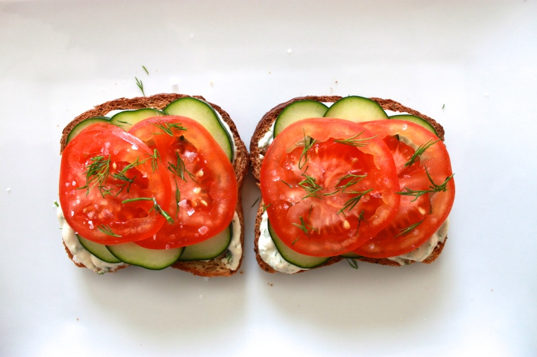 Open-Faced Veggie Sandwich with Dill Spread