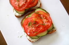 Open-Face Veggie Sandwich with Dill Spread