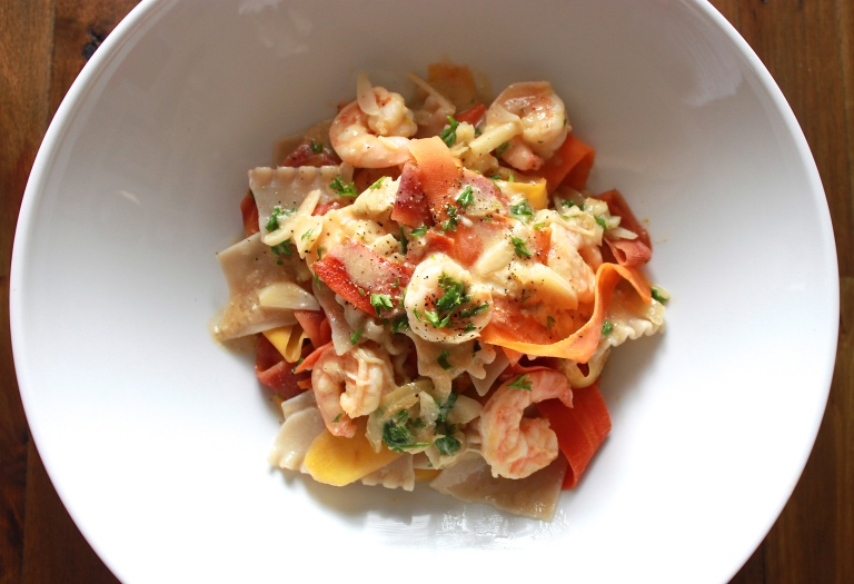 Garlic Shrimp with Pasta and Rainbow Carrot Ribbons