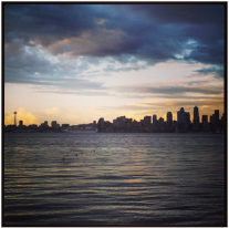 The view of downtown Seattle from Alki beach.