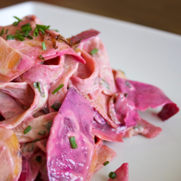 Beet Petals with Creamy Chive Pasta