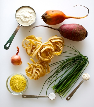 Beet Pasta with Creamy Chive Sauce