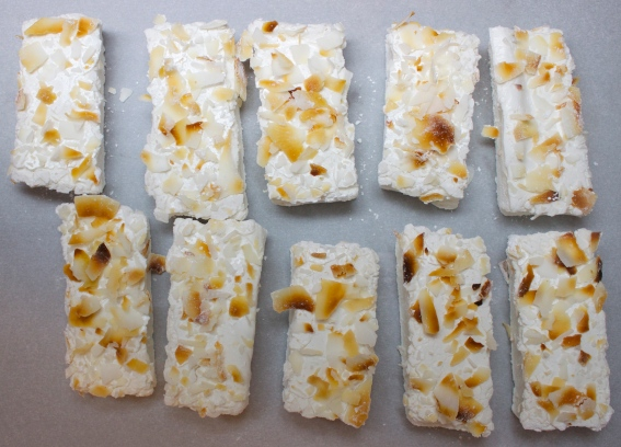 Marshmallows with toasted coconut