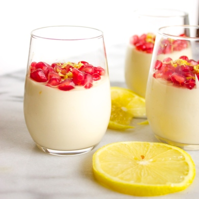 Vegan Lemon Mousse with Pomegranate Flair